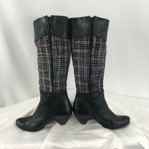 No Pulse Leather & Fabric Knee-High Boots